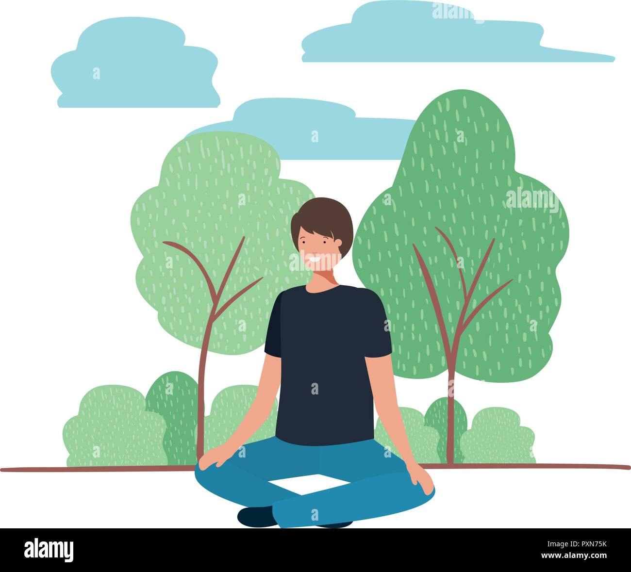 young man with crossed feet in landscape - Stock Vector