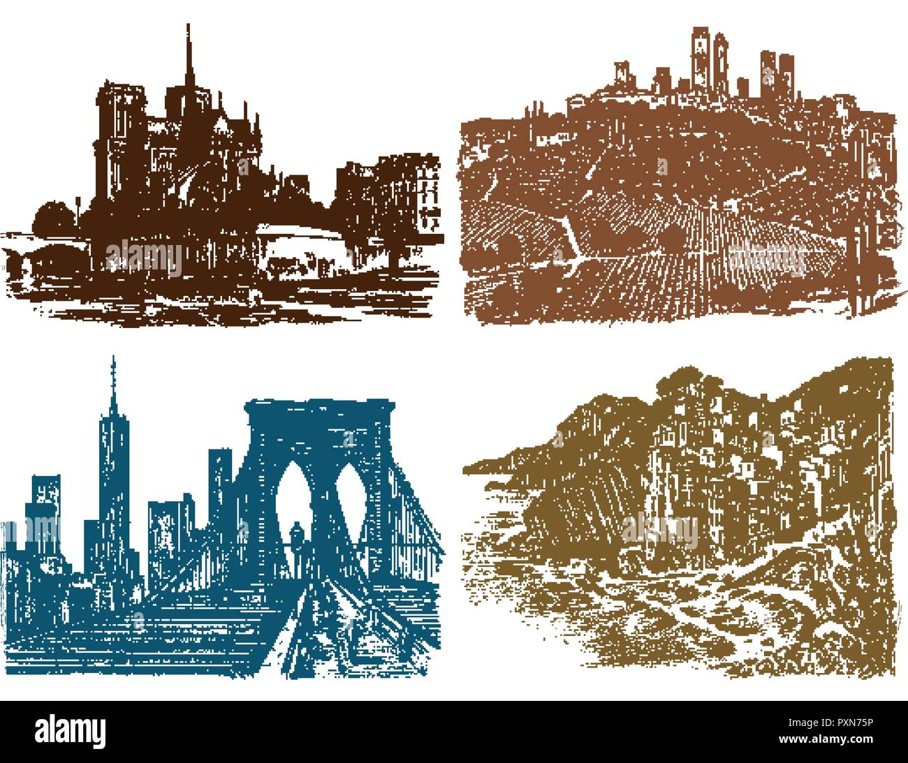 Historical architecture with buildings and Mountain peaks. Engraved hand drawn in old sketch and monochrome vintage style. Travel postcard. - Stock Image