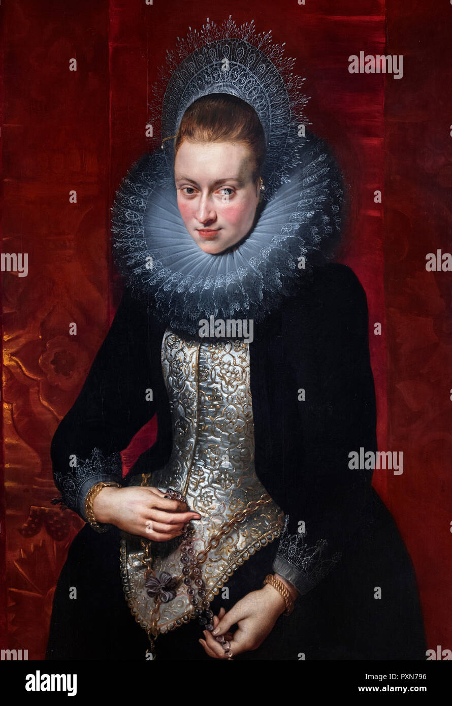 Portrait of a Young Woman with a Rosary by Peter Paul Rubens (1577-1640), oil on wood, c.1609/10 - Stock Image