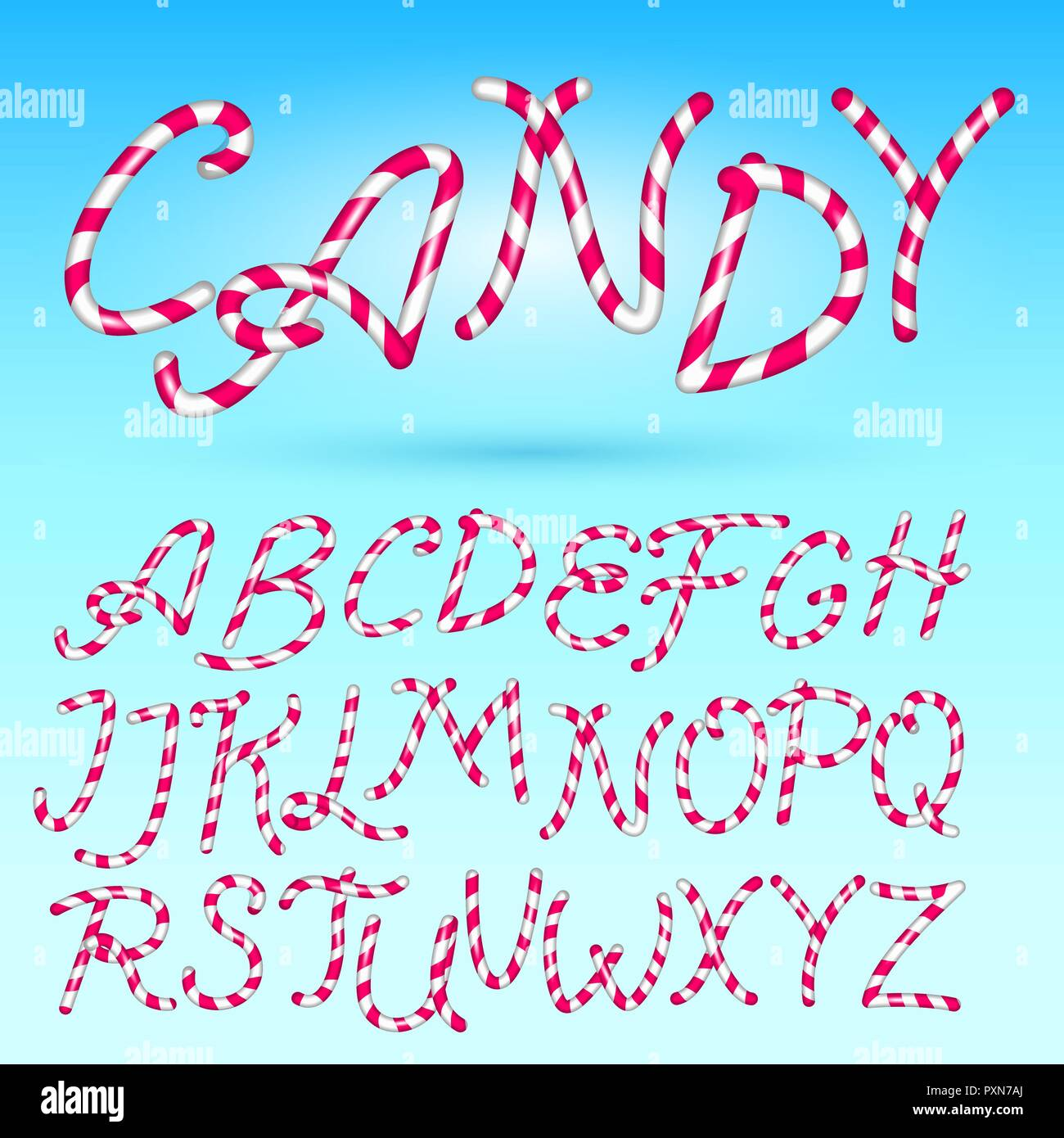 candy cane font sweet comic alphabet set isolated lettering