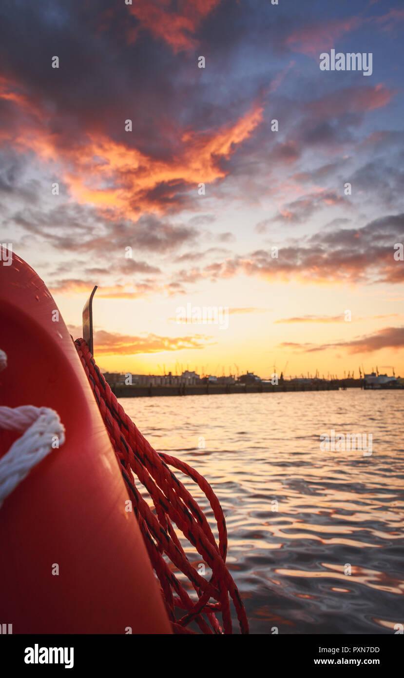 Hamburg Lichtstimmung am Hafen - Stock Image