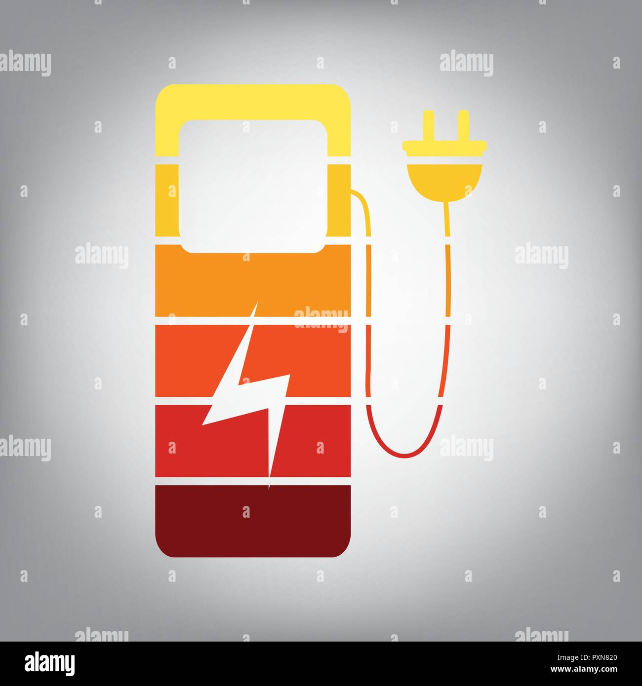 Electric Car Charging Station Sign Vector Horizontally Sliced Icon Charger Diagram With Colors From Sunny Gradient In Gray Background