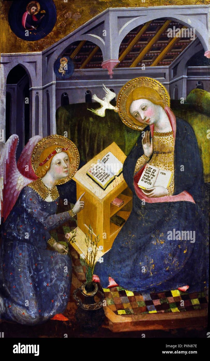 Annunciation 1400 - 1405 by Pere Serra 15th Century  Italy, Italian. - Stock Image