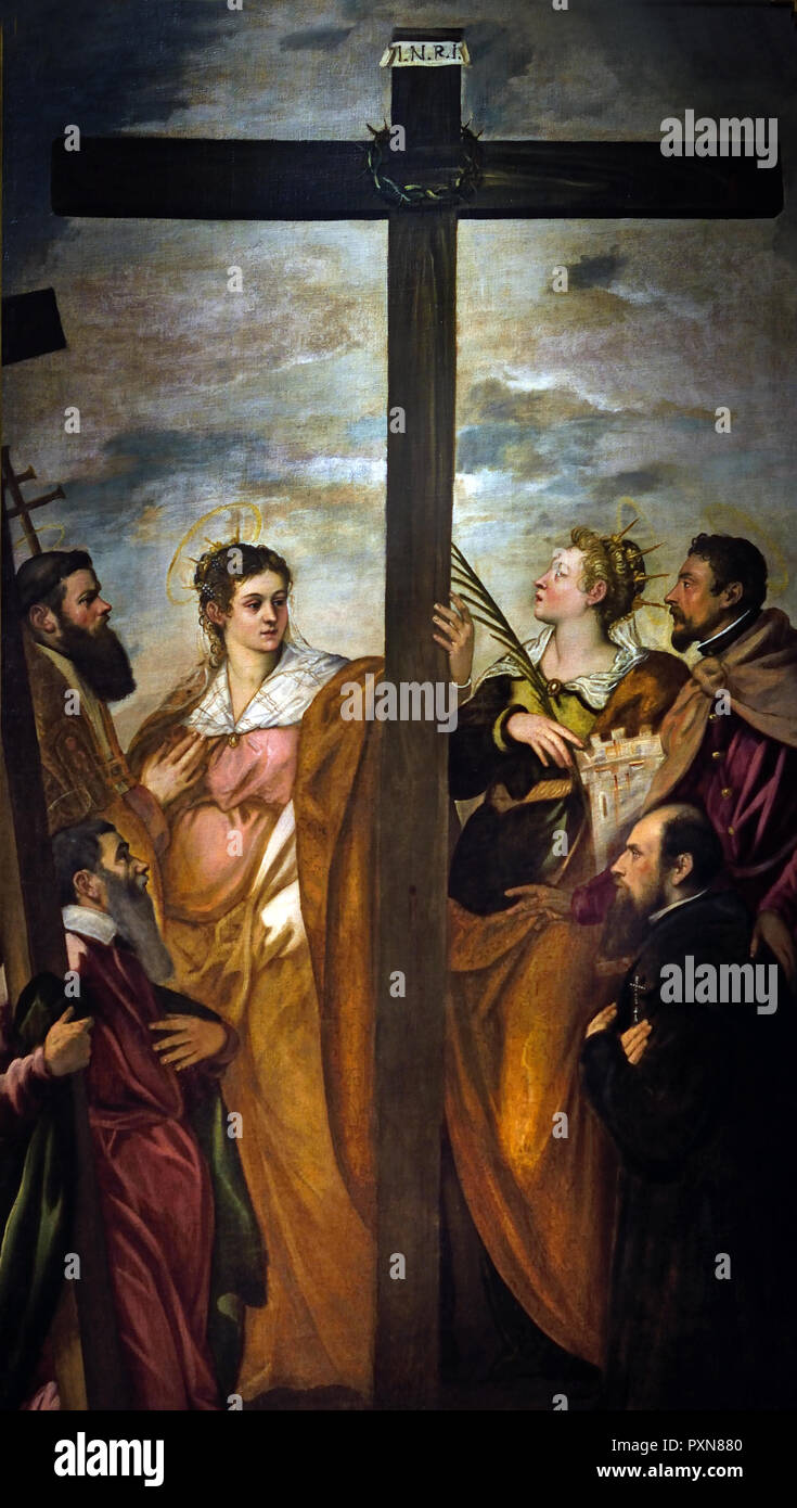 St. Helen, St. Barbara, St. Andrew, St. Macarius, another Saint and a Worshipper Adore the Cross 1560 by Jacopo Robusti, called Tintoretto (1518 - 1594 Venice) Italy Italian - Stock Image
