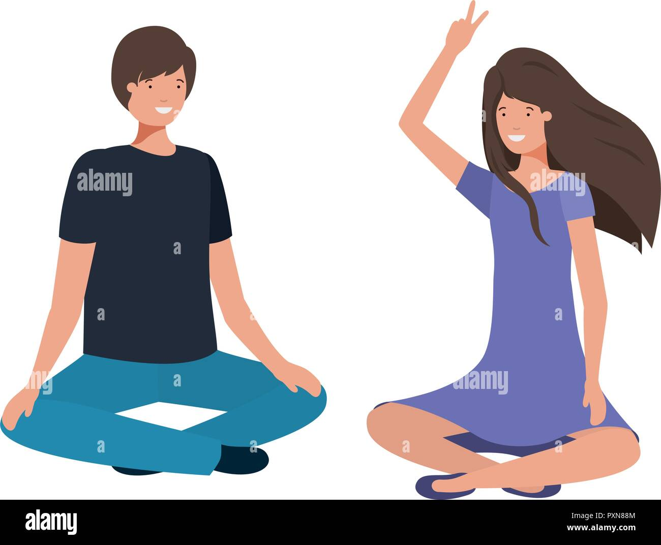 couple with crossed feet avatar character - Stock Vector