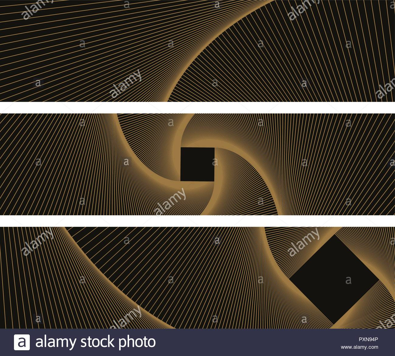 graphic abstract banners with linear vortex pattern in gold and black - Stock Vector
