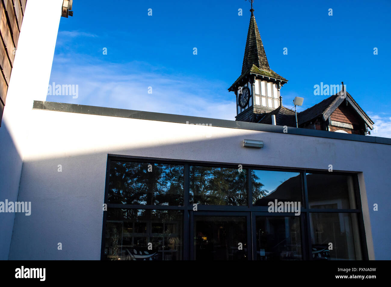 Clock tower and extension at Alvaston Hall, Nantwich, Cheshire, UK - Stock Image