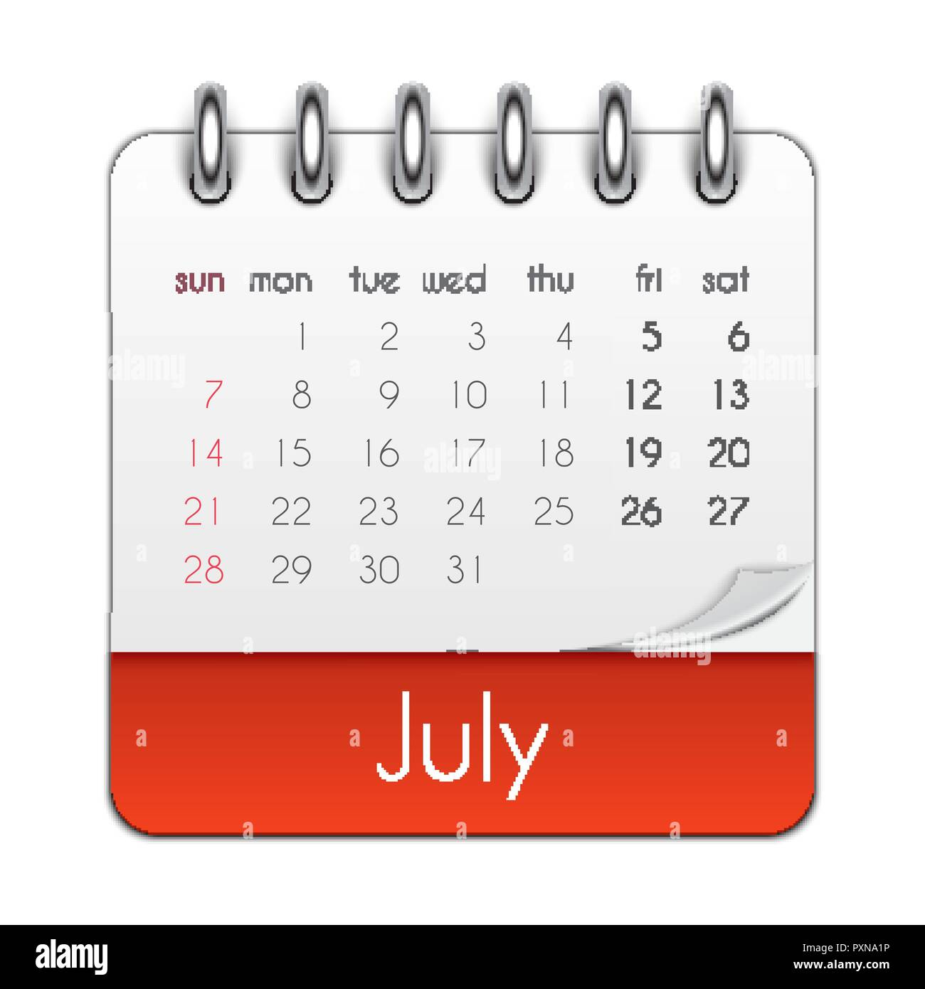 Calendario Julio 2019 Vector.Week Stock Vector Images Page 52 Alamy
