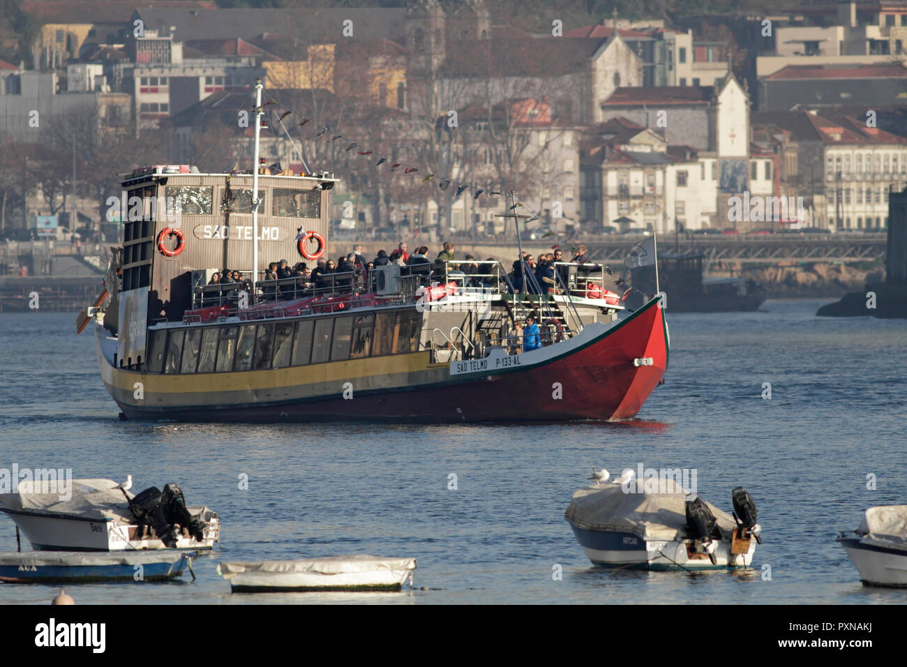 Porto, Portugal: December 5, 2018: Arrival of tourist ship after a cruise on the beautiful Douro River. Stock Photo