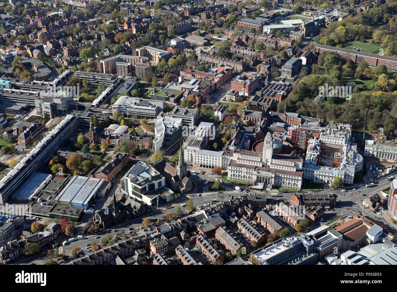 aerial view of The University of Leeds, West Yorkshire, UK - Stock Image