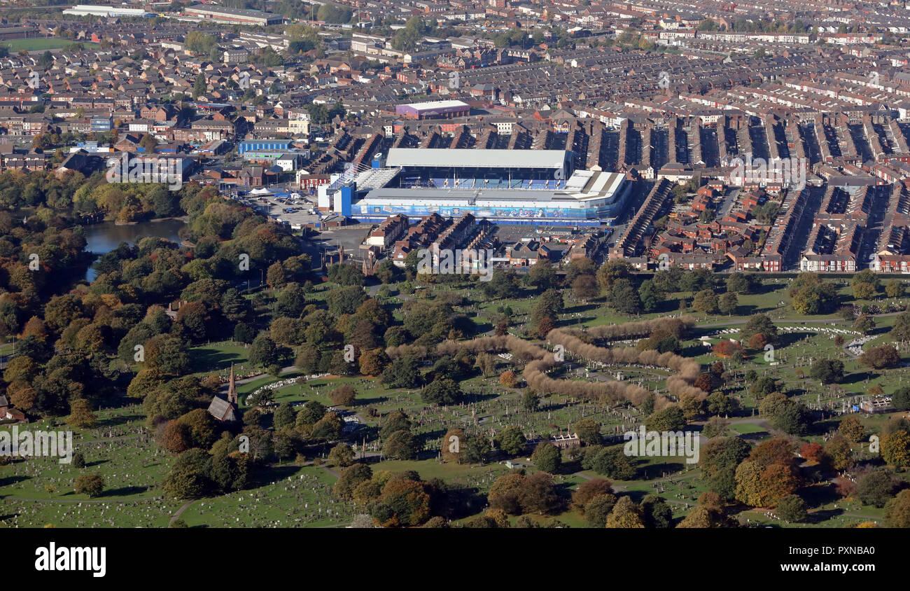 aerial view of Everton FC Goodison Park Stadium, Stanley Park, Liverpool Stock Photo