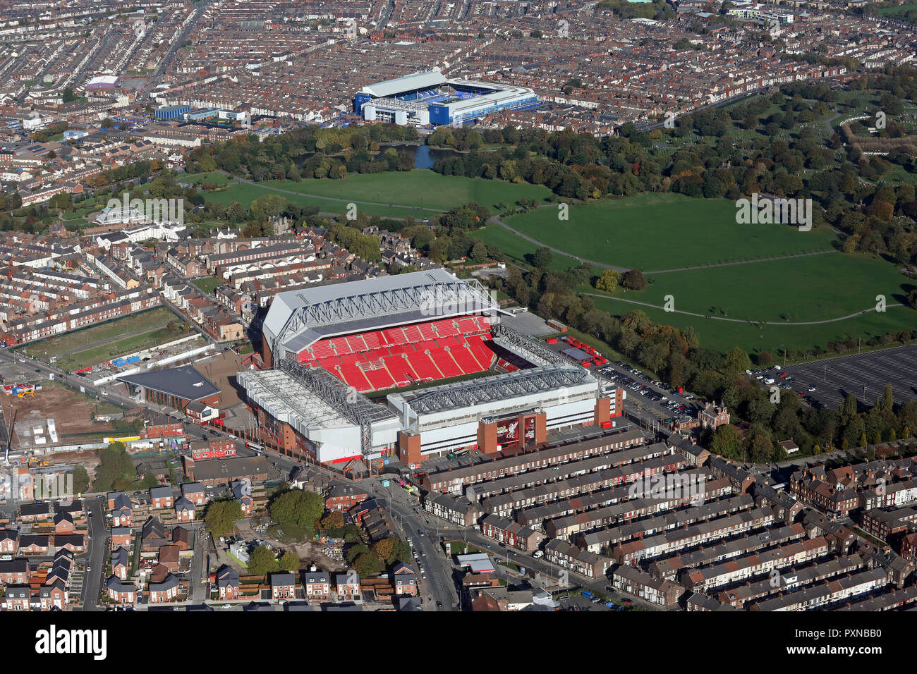 aerial view of Liverpool FC Anfield Stadium with Everton FC Goodison Park Stadium in the background across Stanley Park Stock Photo