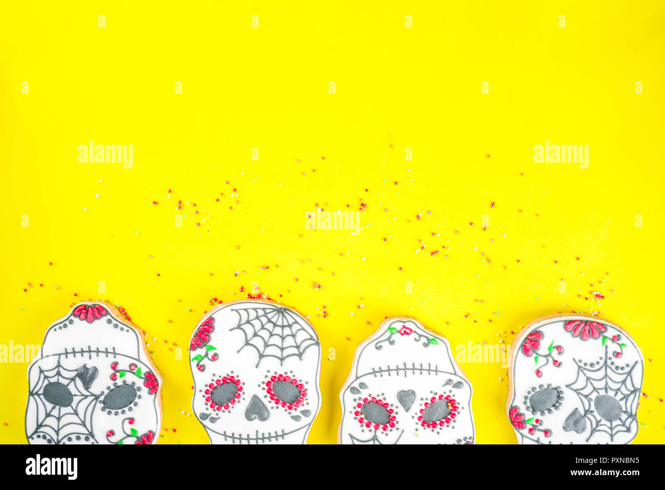 Dia De Los Muertos Mexican Day Of The Dead Or Halloween Greeting Card Background With