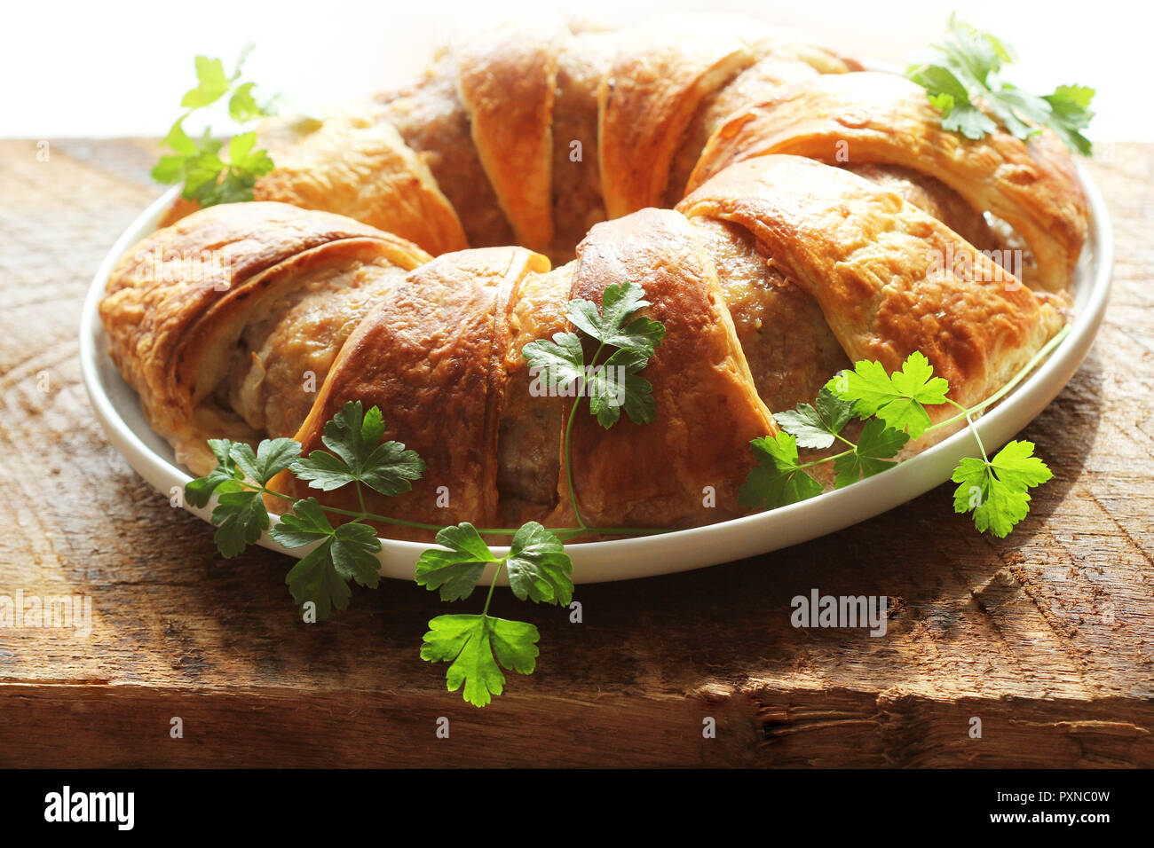 Meatloaf ring baked in pastry - Stock Image