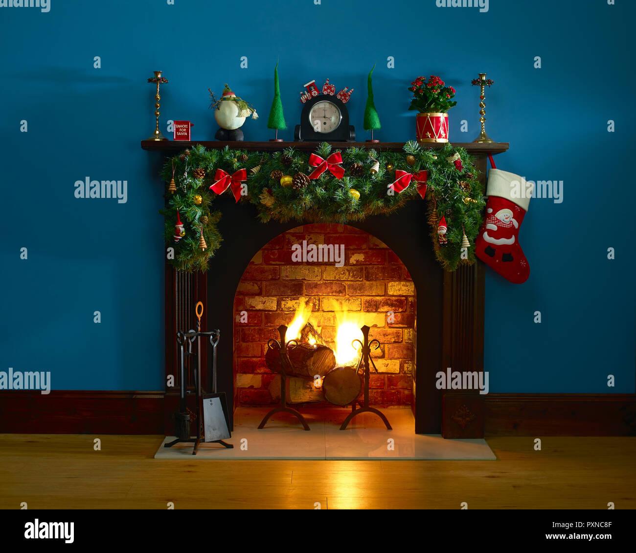 Festive Fireplace - Stock Image