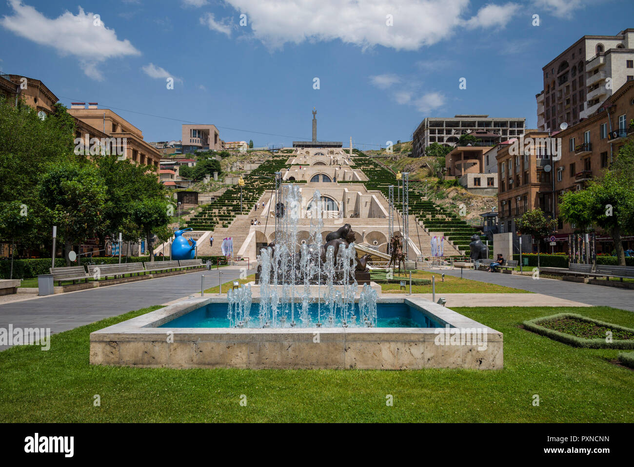Armenia, Yerevan, The Cascade, view of the fountains - Stock Image
