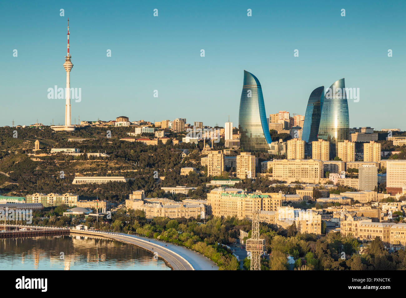 Azerbaijan, Baku, high angle city skyline, from the north - Stock Image