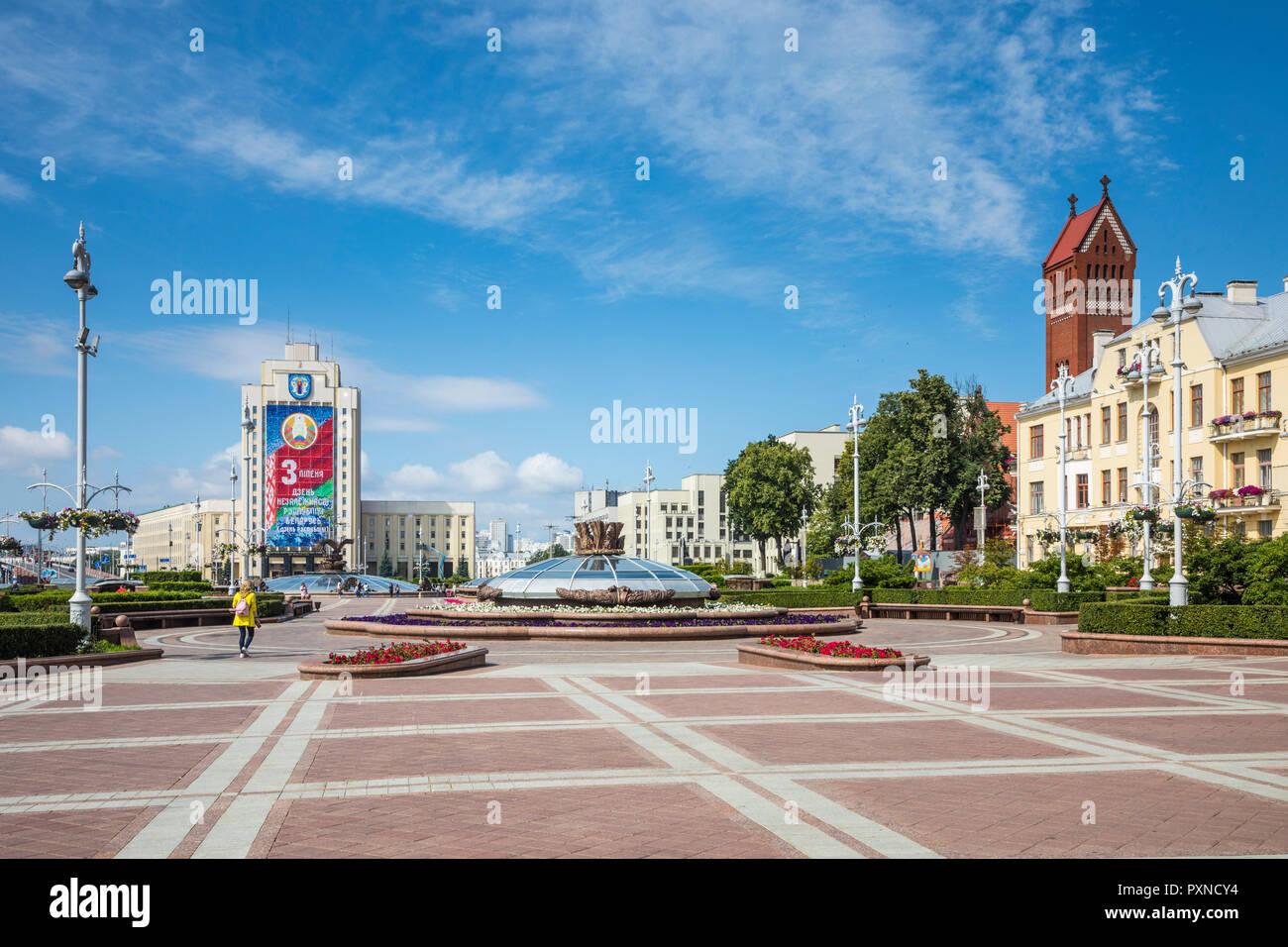 Independence Square, Minsk, Belarus Stock Photo