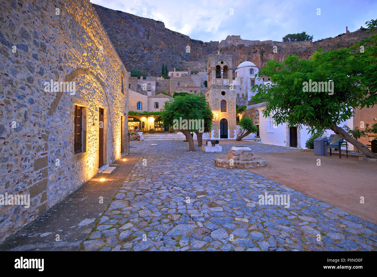 Church of Elkomenos Christos and Bell Tower in Platia Dsami Square, Monemvasia, Laconia, The Peloponnese, Greece, Southern Europe - Stock Image