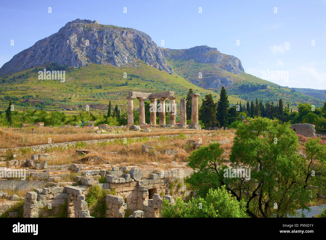 Temple of Apollo, Corinth, The Peloponnese, Greece, Southern Europe - Stock Image