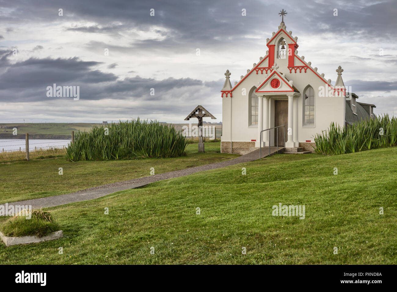Italian Chapel (Queen of Peace Chapel), Lamb Holm, Mainland, Orkney islands, Scotland, UK - Stock Image