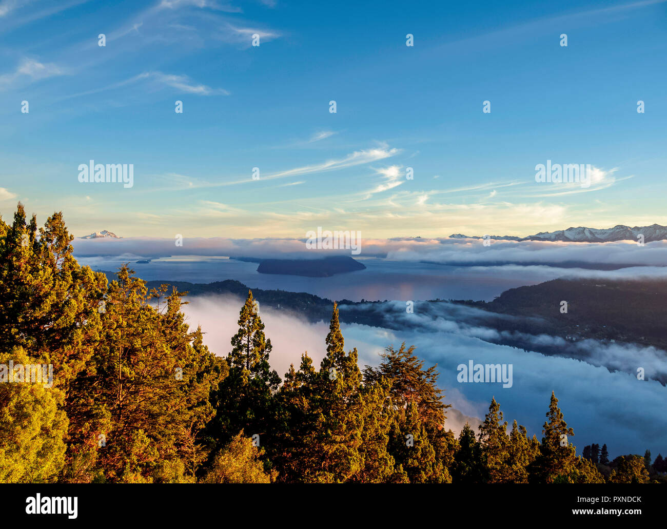Nahuel Huapi Lake at sunrise, seen from Cerro Campanario, Nahuel Huapi National Park, Rio Negro Province, Argentina - Stock Image
