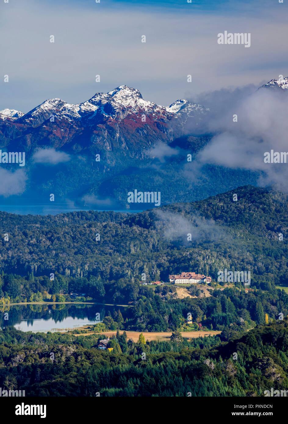 Perito Moreno Lake and Llao Llao Hotel seen from Cerro Campanario, Nahuel Huapi National Park, Rio Negro Province, Argentina - Stock Image