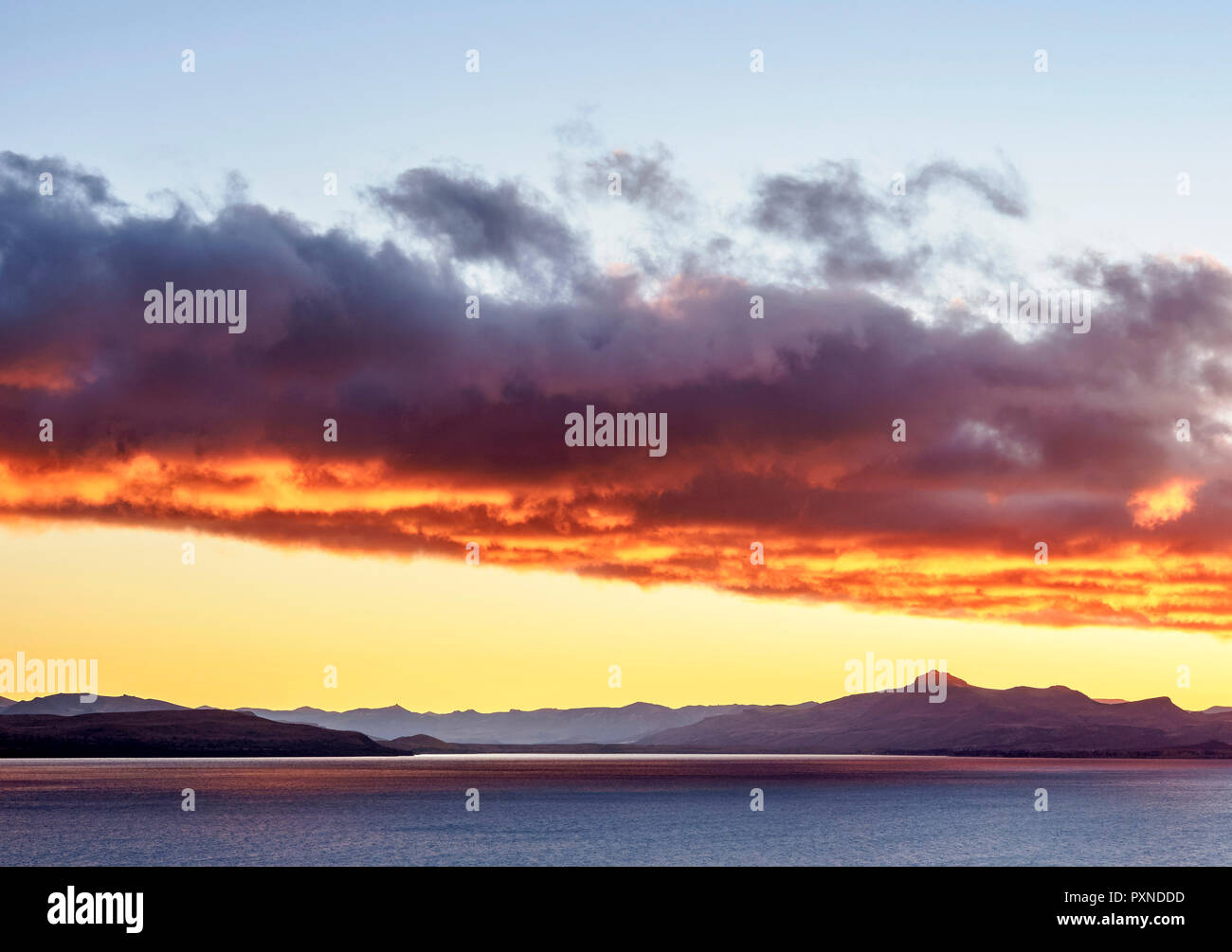 Nahuel Huapi Lake at sunrise, San Carlos de Bariloche, Nahuel Huapi National Park, Rio Negro Province, Argentina - Stock Image