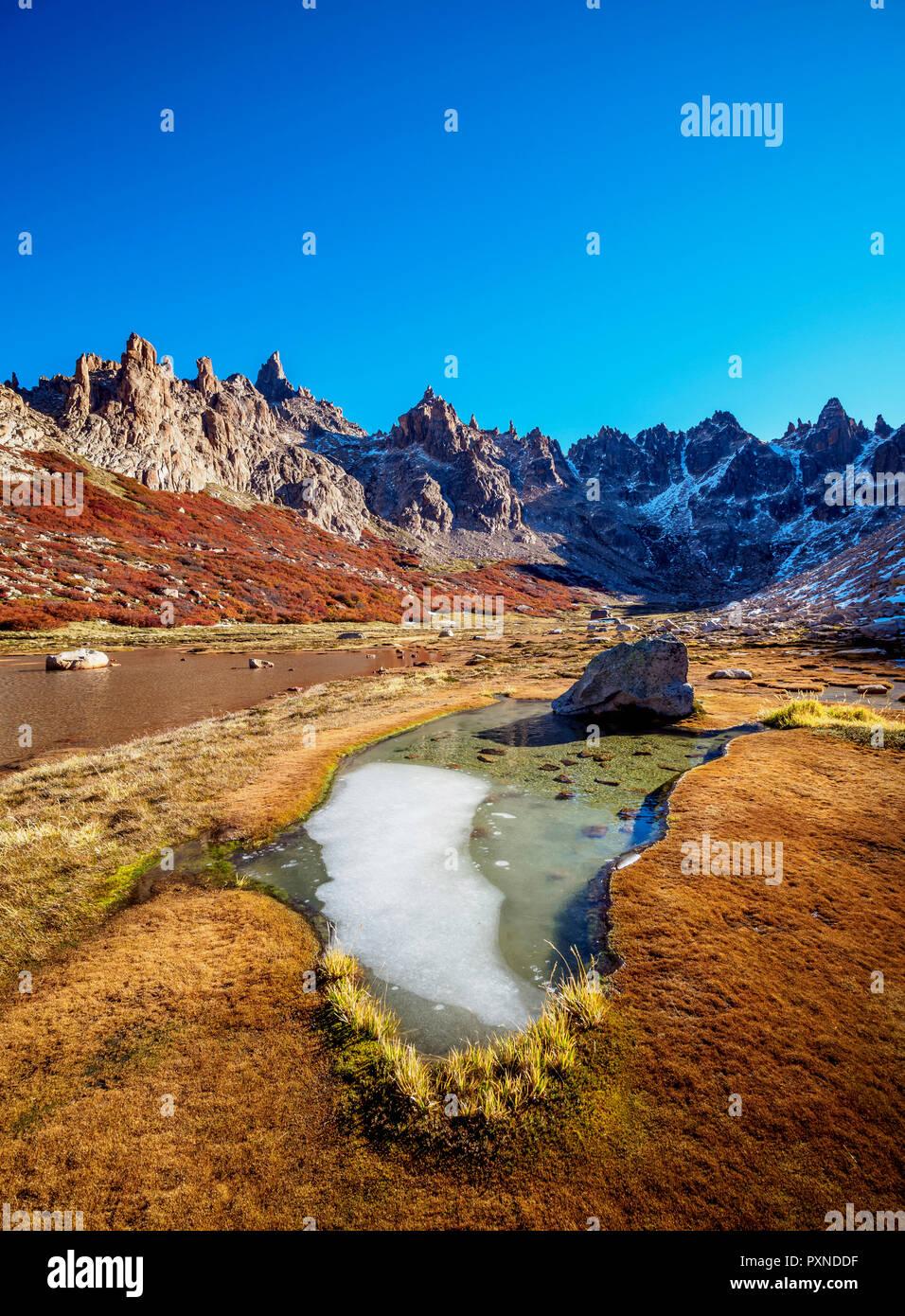 Toncek Lagoon and Cerro Catedral, Nahuel Huapi National Park, Rio Negro Province, Argentina - Stock Image