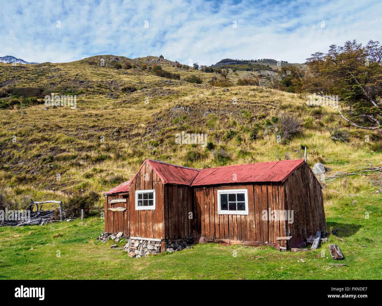Finnish Hut, Los Glaciares National Park, Santa Cruz Province, Patagonia, Argentina - Stock Image