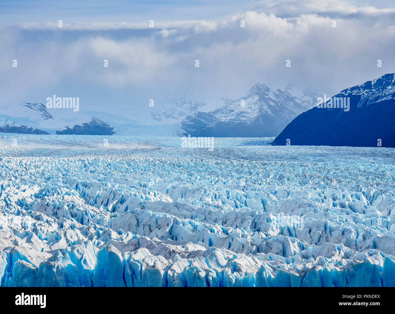 Perito Moreno Glacier, elevated view, Los Glaciares National Park, Santa Cruz Province, Patagonia, Argentina Stock Photo