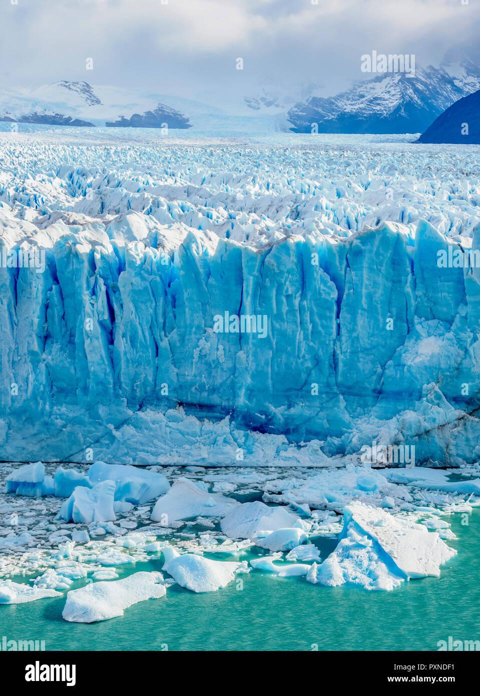 Perito Moreno Glacier, elevated view, Los Glaciares National Park, Santa Cruz Province, Patagonia, Argentina - Stock Image