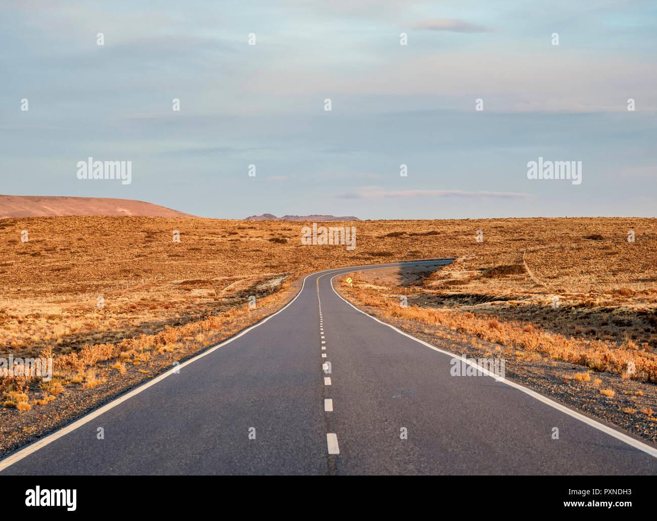 Ruta 40 near Perito Moreno Town, sunset, Santa Cruz Province, Patagonia, Argentina - Stock Image