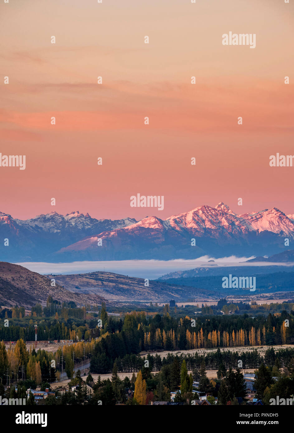 Esquel at sunrise, elevated view, Chubut Province, Patagonia, Argentina - Stock Image