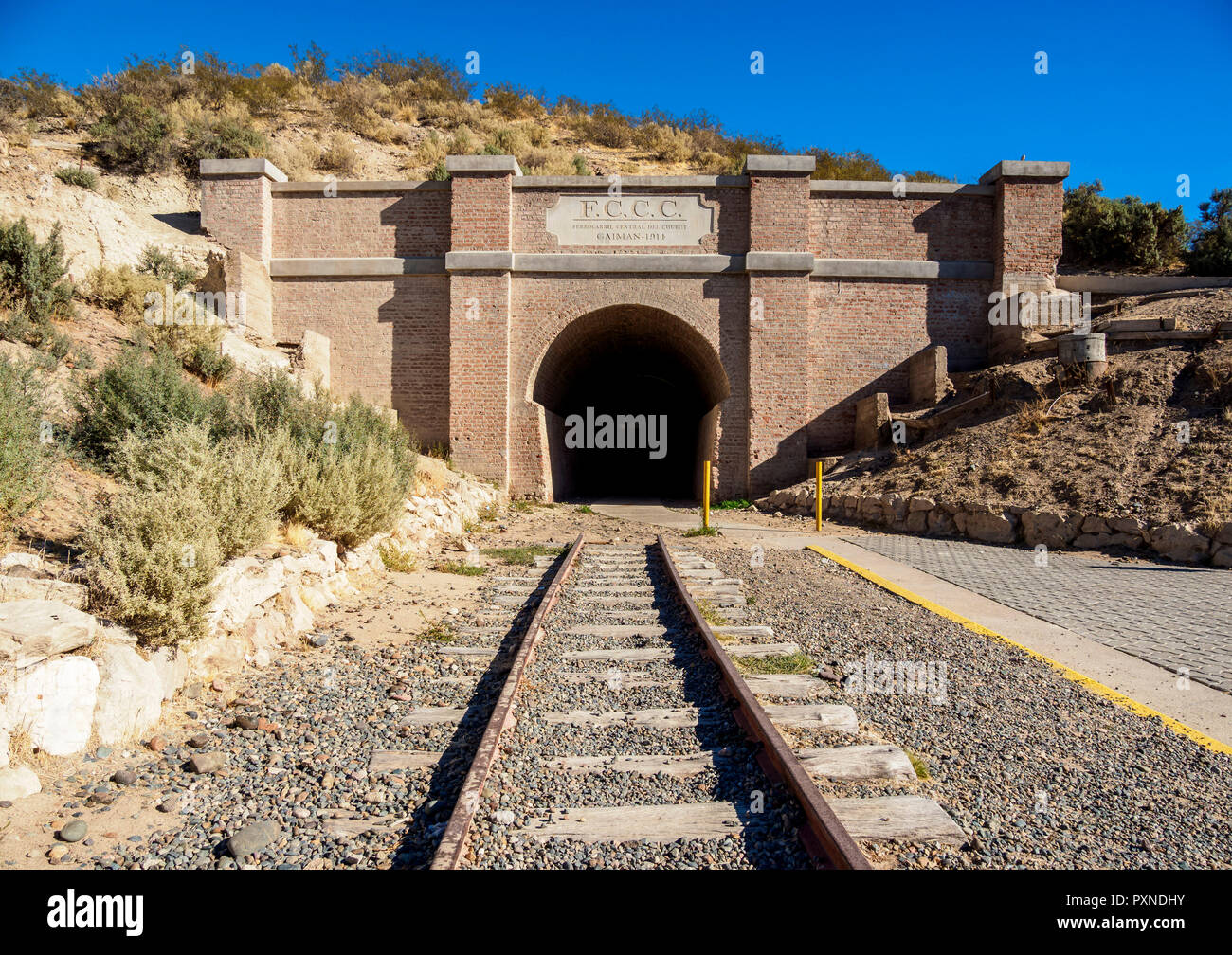 Central Chubut Railway Tunnel, Gaiman, The Welsh Settlement, Chubut Province, Patagonia, Argentina - Stock Image