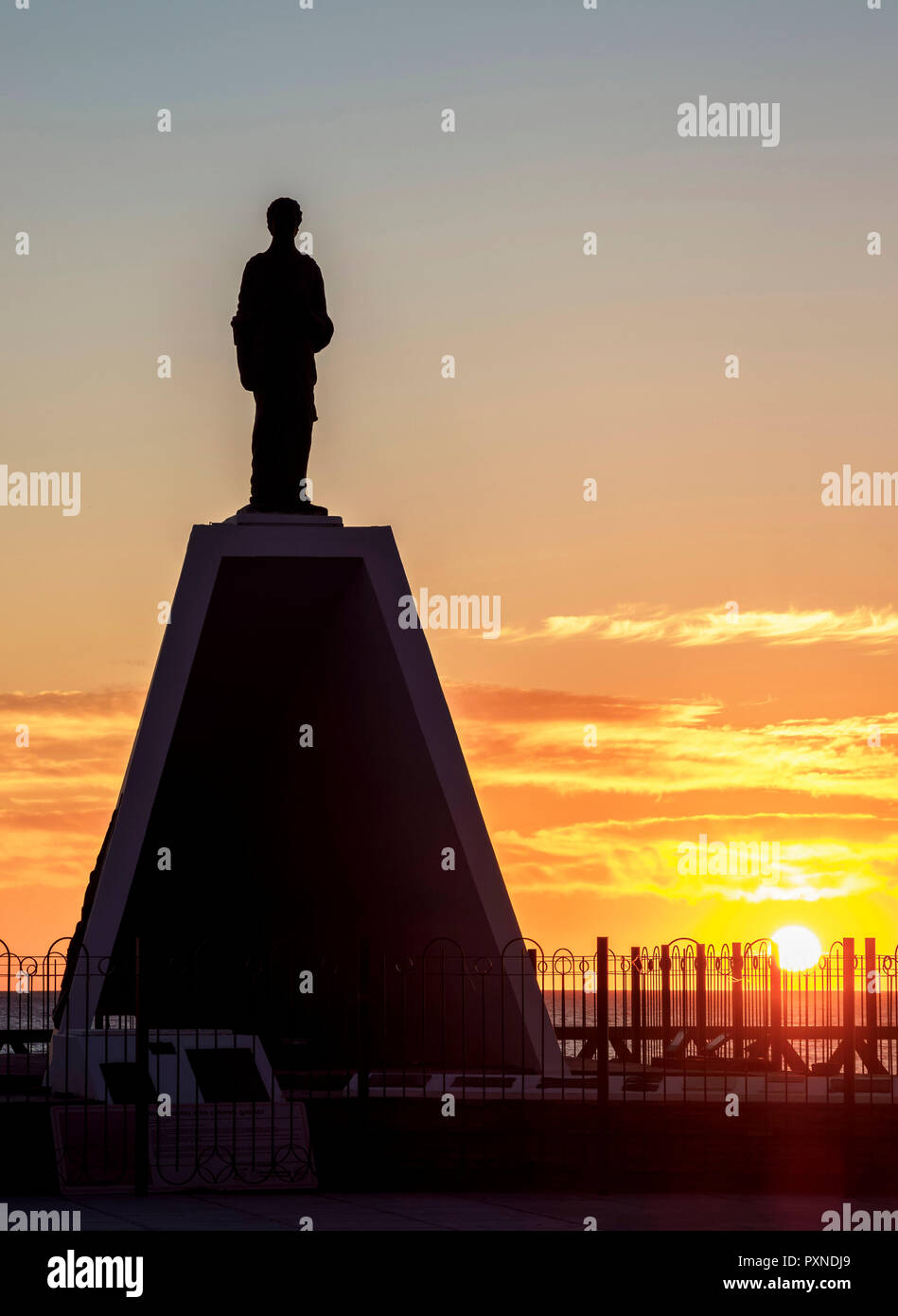 Monument to the Welsh Settlers at sunrise, Puerto Madryn, The Welsh Settlement, Chubut Province, Patagonia, Argentina - Stock Image