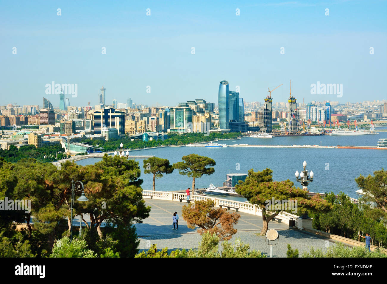 Baku and the Caspian Sea seen from Dagustu Park. Azerbaijan - Stock Image