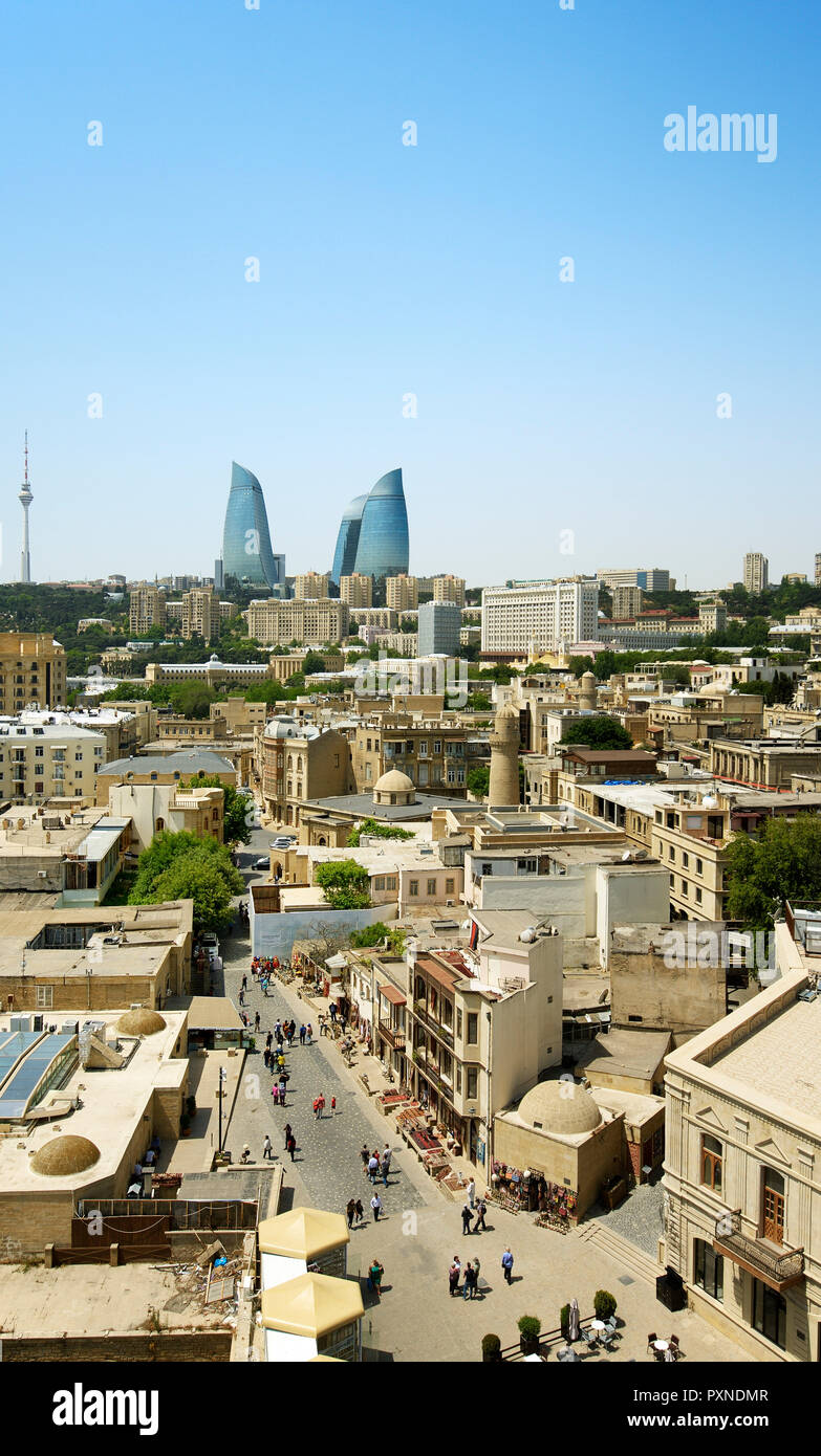 The Old City or Inner City (Icarisahar), the historical core, the most ancient part of Baku, a Unesco World Heritage Site. Azerbaijan - Stock Image