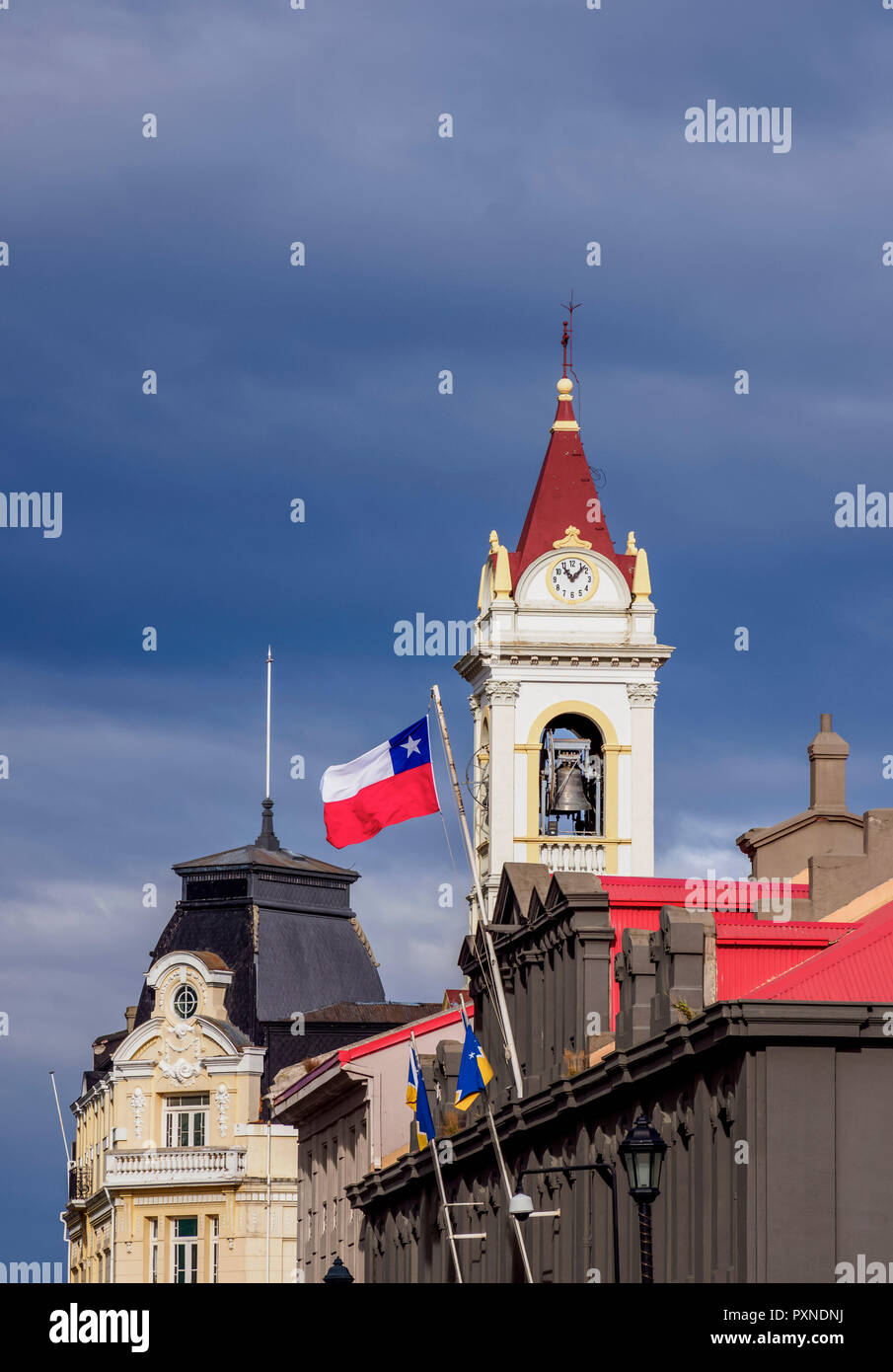 Local Government Office and Cathedral Tower, Punta Arenas, Magallanes Province, Patagonia, Chile - Stock Image