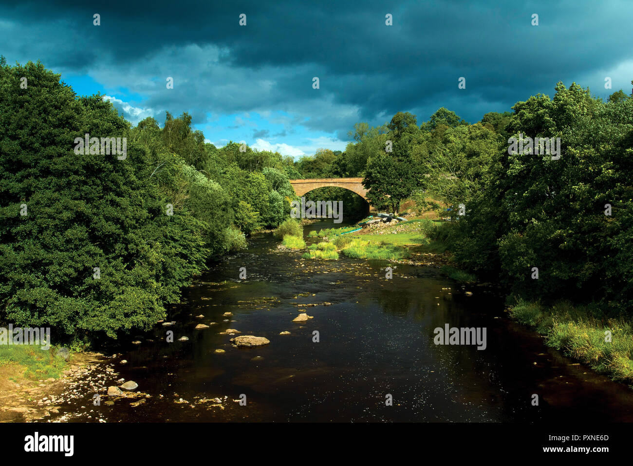 The Old Avon Bridge and the Avon Water, Chatelherault Country Park, Hamilton, South Lanarkshire - Stock Image