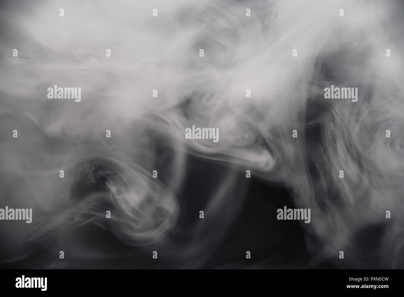 Smoke On Black Background Close-Up - Stock Image