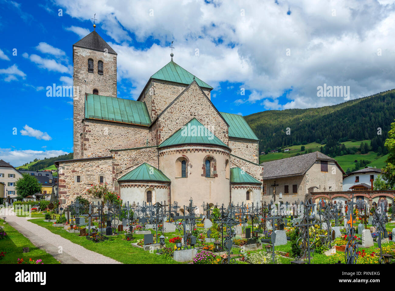 Colligiate church, Innichen, Puster valley, Alto Adige, Italy - Stock Image