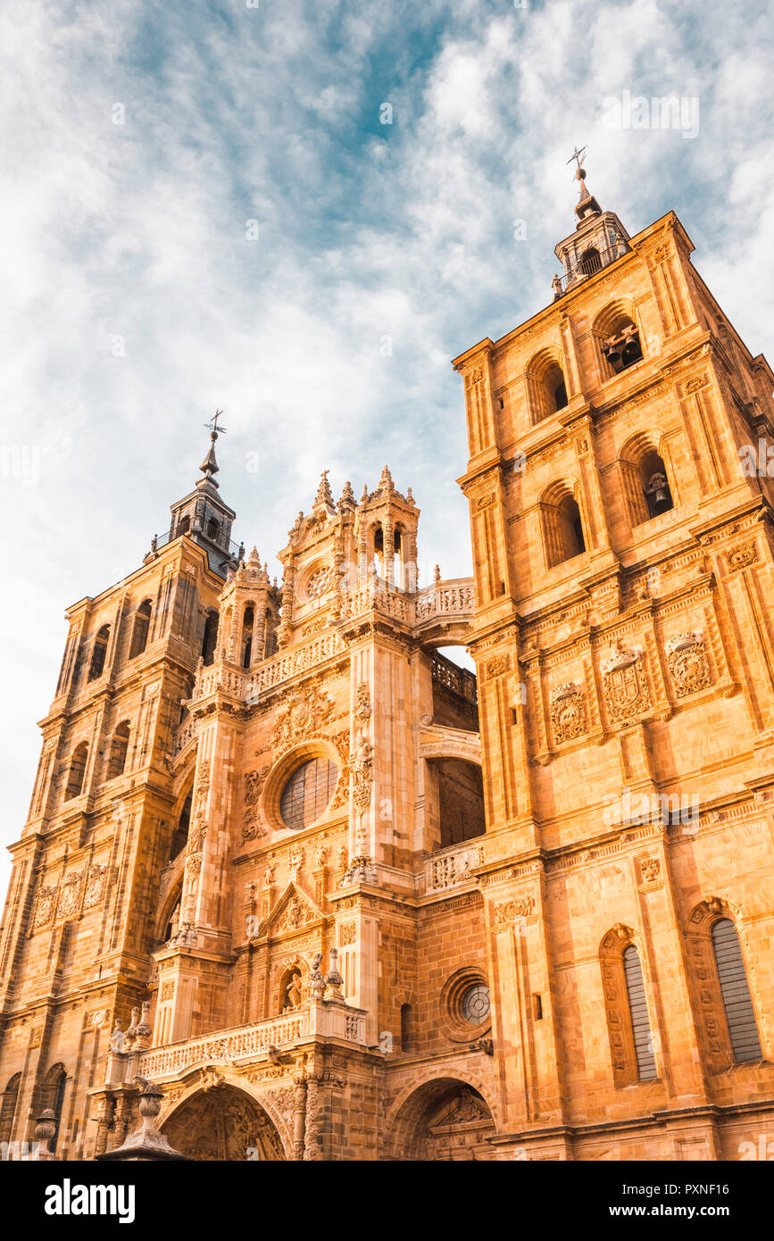 Spain, Castile and Leon, Astorga. The gothic Cathedral of Astorga. - Stock Image