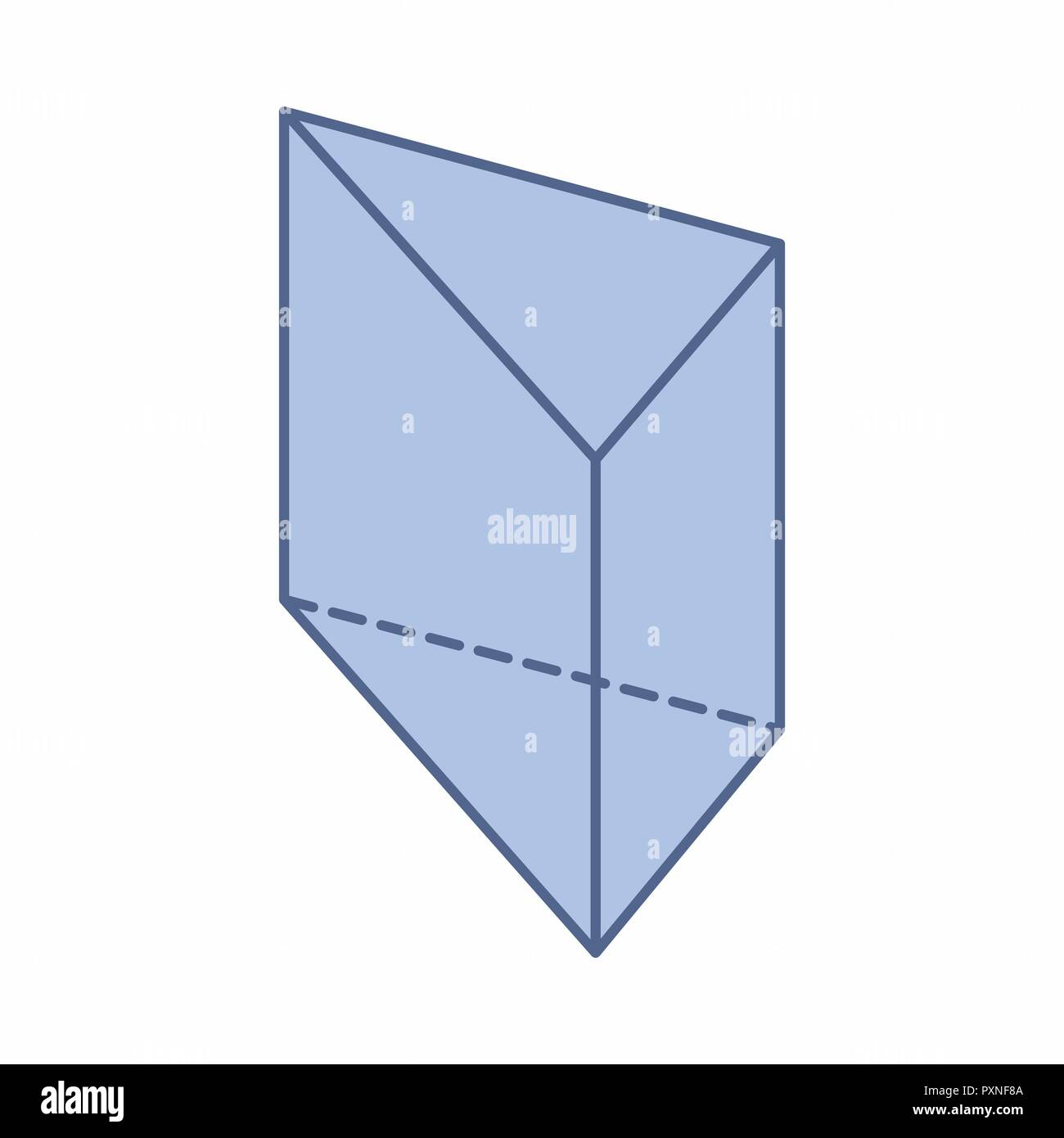 The Illustration Of An Isolated Triangular Prism On White Background