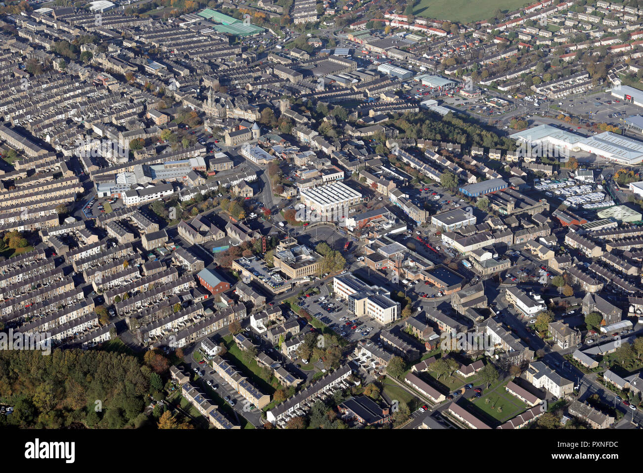 aerial view of Colne town centre, Lancashire, UK - Stock Image
