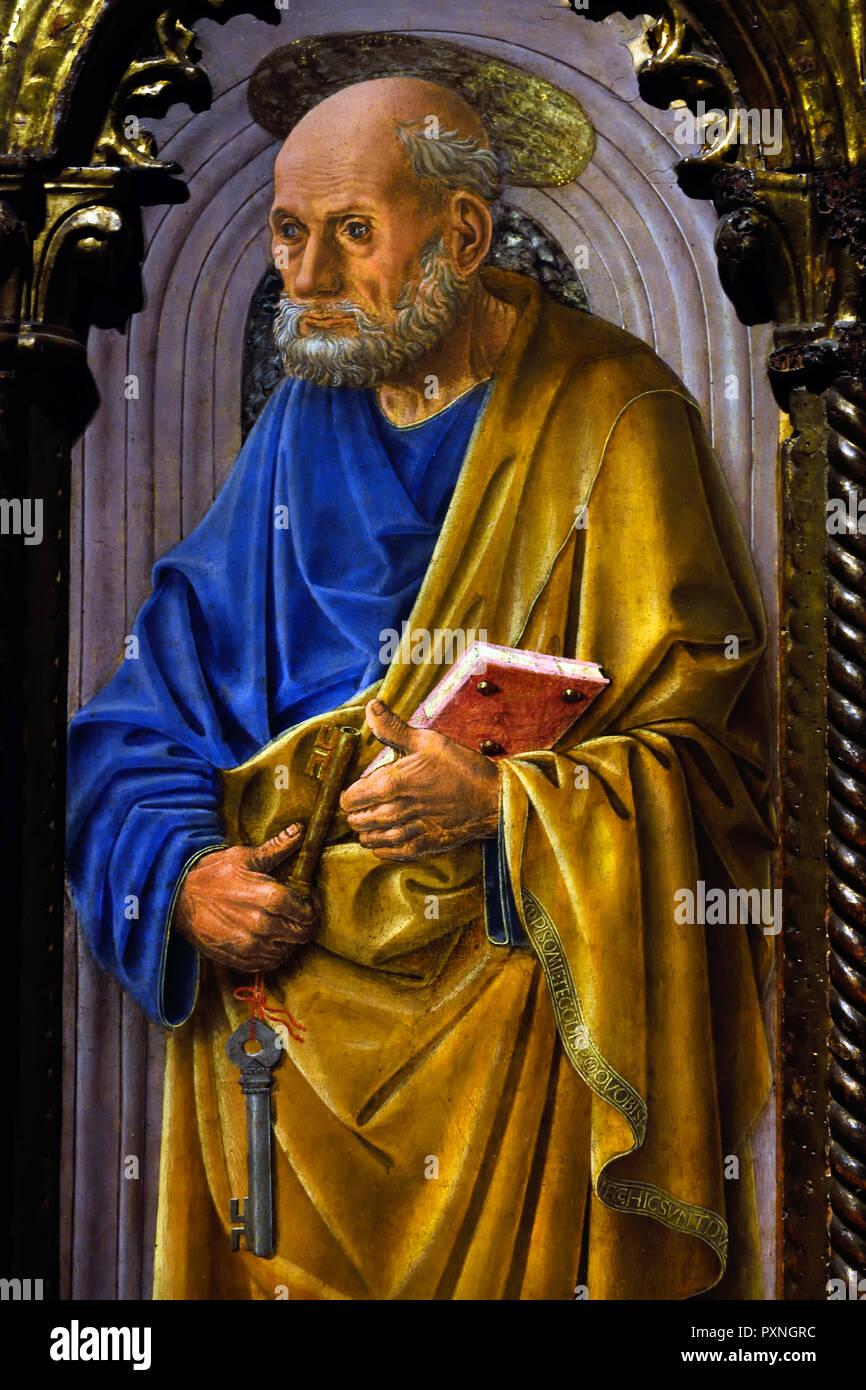 Saint Peter 1460 - 1465 by Fra' Carnevale (Bartolomeo di Giovanni Corradini)1445-1484 Italy, Italian . - Stock Image