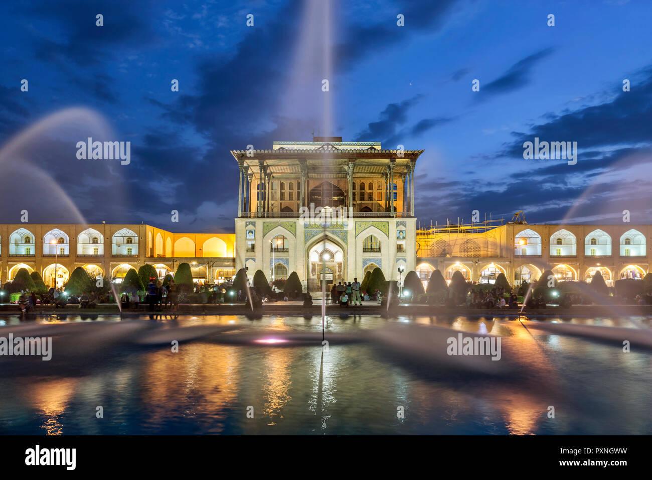 Iran, Isfahan Province, Isfahan, Aali Qapu Palace at blue hour Stock Photo