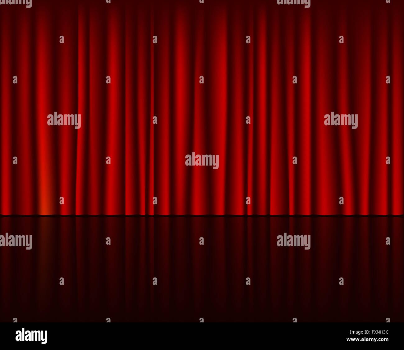 Empty stage with red curtain seamless template. Vector background. - Stock Vector