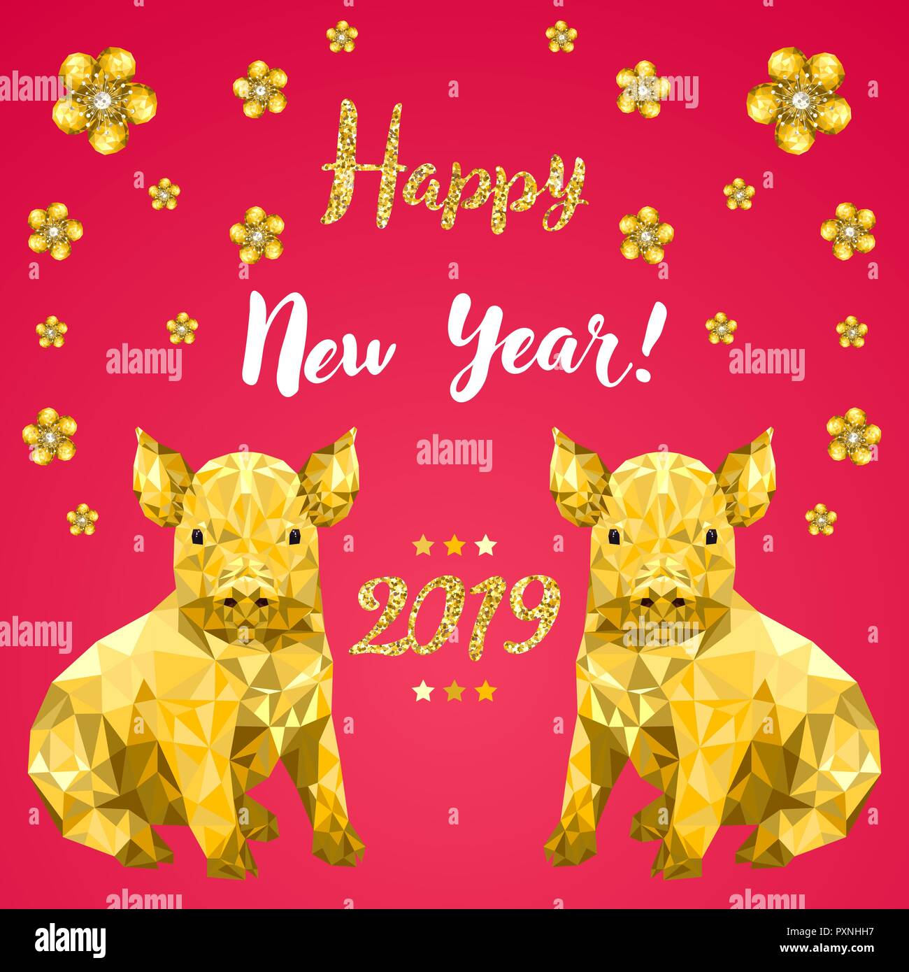 Happy New Year 2019 Chinese New Year Design Gritting Card With Pig