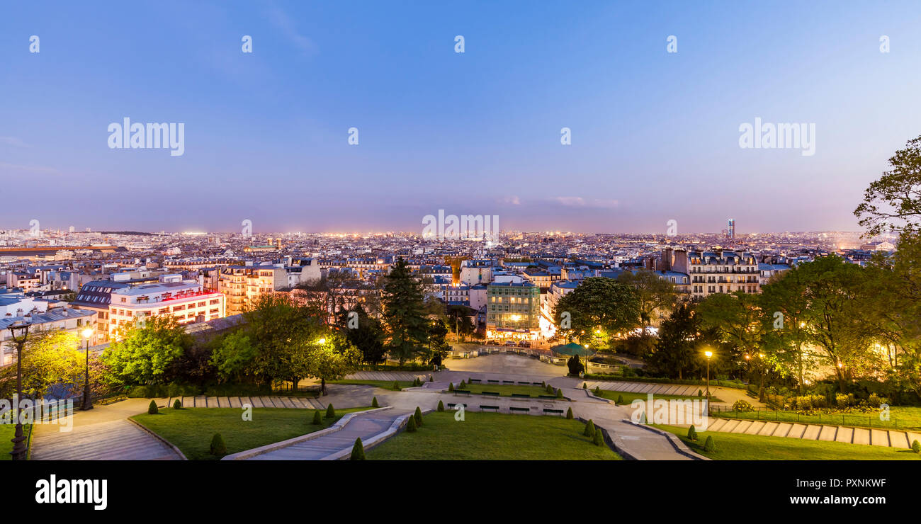 France, Paris, Panoramic cityscape from Montmartre at blue hour - Stock Image